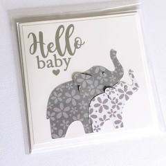 Elephant baby shower card, Hello Baby. Blank card, baby girl or baby boy.