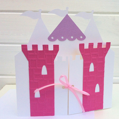 Pink & Purple Castle Greeting Card. Birthday, baby shower card. Little princess.