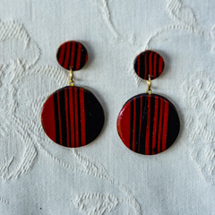 Black and Red Stripped Double Circle Drop Earrings 2511