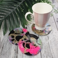 Disco Coasters - PINK Buttons For Drink or as a Paperweight - SINGLE- Resin