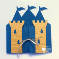 Blue & Gold Castle Greeting Card. Birthday or baby shower card. Little prince.