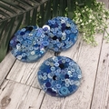 Mug Coasters - BLUE Buttons For Drink or as a Paperweight - SINGLE- Resin
