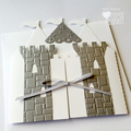 Silver Castle Greeting Card. Birthday, baby shower card. Little prince, princess