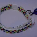 Cat Collar - Colourful Squares on White