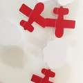 Aeroplane & Clouds garland. Red airplane banner. First birthday, baby shower.