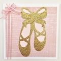 Ballet Shoe greeting card, Pink & Gold. Birthday card, baby shower, baby girl.