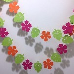 Tropical flower garland. Hibiscus and leaf banner. Photo Prop, Birthday party.