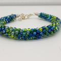 Kumihimo Bead  Bracelet Blue Green  Silver Turquoise