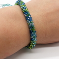 Kumihimo Bead  Bracelet Heart Button Green Blue Turquoise Silver