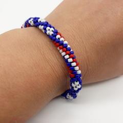 Kumihimo Bead  Bracelet Red White Blue Australia