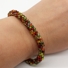 Kumihimo Bead  Bracelet Yellow Green Brown Bronze