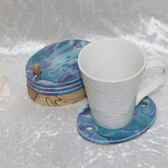 Set of 4 Handpainted Purple and Teal Coasters with Timber Base