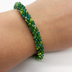 Kumihimo Bead  Bracelet Green  Silver Gold