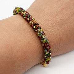 Kumihimo Bead  Bracelet Yellow Green Brown Gold