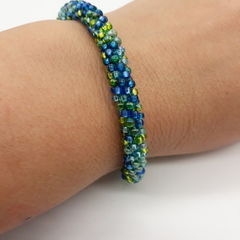 Kumihimo Bead  Bracelet Blue Green  Silver Turquoise
