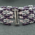 Silver Purple and Pink Butterflies Beaded Bracelet Butterfly Formal Glitz Glam