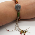 Kumihimo Bead  Bracelet Flower Button Brown Yellow Green Gold