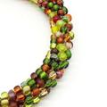 Kumihimo Bead  Bracelet Yellow Green Brown Bronze