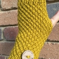 Mustard handwarmers adult sized, texting gloves or fingerless gloves mens ladies