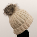 Adult beanies,  textured wool, faux fur pompom.