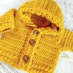 Mustard Hand Crocheted Baby Cardigan Hoodie 0-6 months
