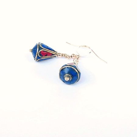 Nepalese Lapis and Coral Mosaic Earrings
