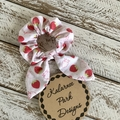 "Hair Scrunchie with Bow ""Strawberries"""