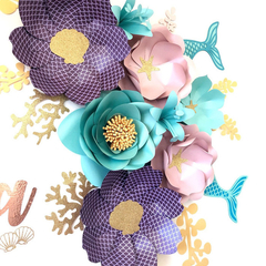 Mermaid-Inspired Paperflowers/ Under The Sea Paperflowers/ Nursery Decor/ Birthd