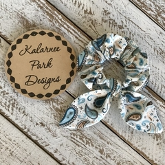"""Hair Scrunchie with Bow """"Blue Paisley"""""""