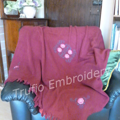 """Scrolls and Roses"" Burgundy Throw Rug"
