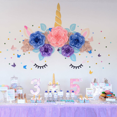 Unicorn Paper Flower Set/ Paperflower Wall Backdrop/ Birthday Girl/ Dessert Tabl
