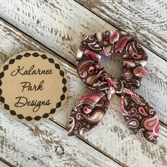 """Hair Scrunchie with Bow 'Pink & Brown Paisley"""""""