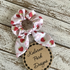 """Hair Scrunchie with Bow """"Strawberries"""""""