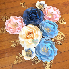 8-Piece Dusty Blue, Blush Pink, Cream, Gold Wall Paperflower/ Home Decor/Room De
