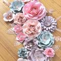 15 Pieces Blush Pink, Dusty Pink, Grey , Rose Gold Paperflower Set /Set of 15 Pa