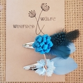 Girls Teal feather hair clips
