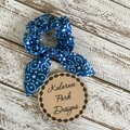 "Hair Scrunchie with Bow ""Horseshoes and Stars"" on Blue"