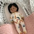 Miniland doll rustic rainbow romper.