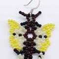 Yellow Huichol Butterfly Beaded Earrings