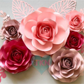 Set of 6 Paper Flowers as Home Wall Decor/ Nursery Decor/ Baby Room Decor/ Party