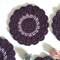 Deep Purple and Lilac Doily and Six Coasters