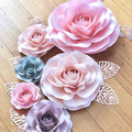 6-Piece Paper Rose /Rose Gold Leaves/ Dusty Pink, Blush, Grey/  Pretty in Pink P