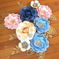 8-Piece Dusty Blue, Blush Pink, Cream, Gold Wall Paperflower/ Home Decor/Room De