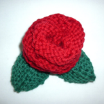 Knitted Red Rose brooch