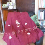 """Lattice Flowers"" Burgundy Throw Rug"