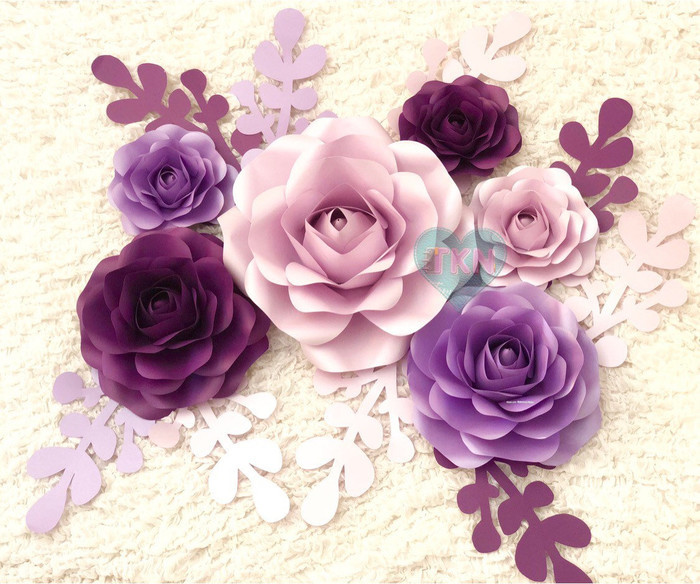 Set Of 6 Paper Flowers As Home Wall Decor Nursery Decor Baby Room