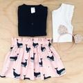 Skirt - Whales - Pink - Navy - Girls - Retro - Sizes 1-5
