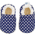 Baby Shoes White Hearts on Navy