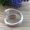 Sterling Silver Violet Bypass SPOON RING. Upcycled Vintage Silverware.