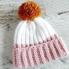 Newborn Dusty Pink White Rib Crocheted Baby Beanie with Mustard or Grey Pompom